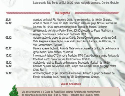 Programação Natal |São Bento do Sul, Campo Alegre e Rio Negrinho